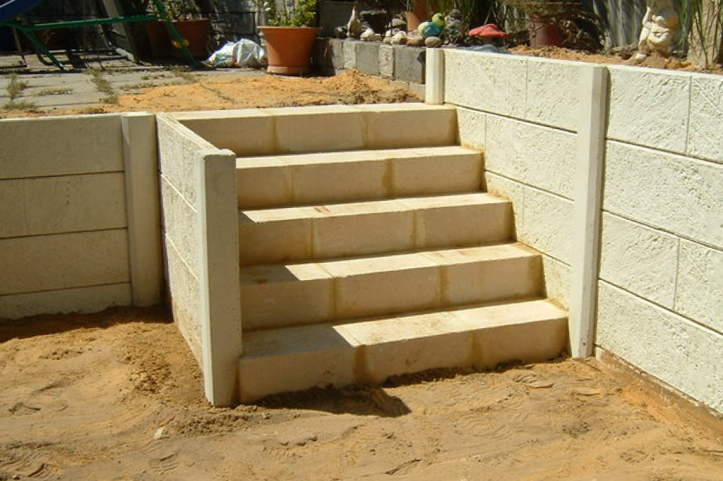 Limestone Steps Built Into Wall Retaining Perth