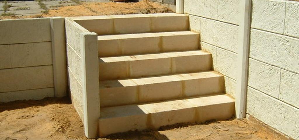Limestone Steps Built Into Wall Retaining Perth